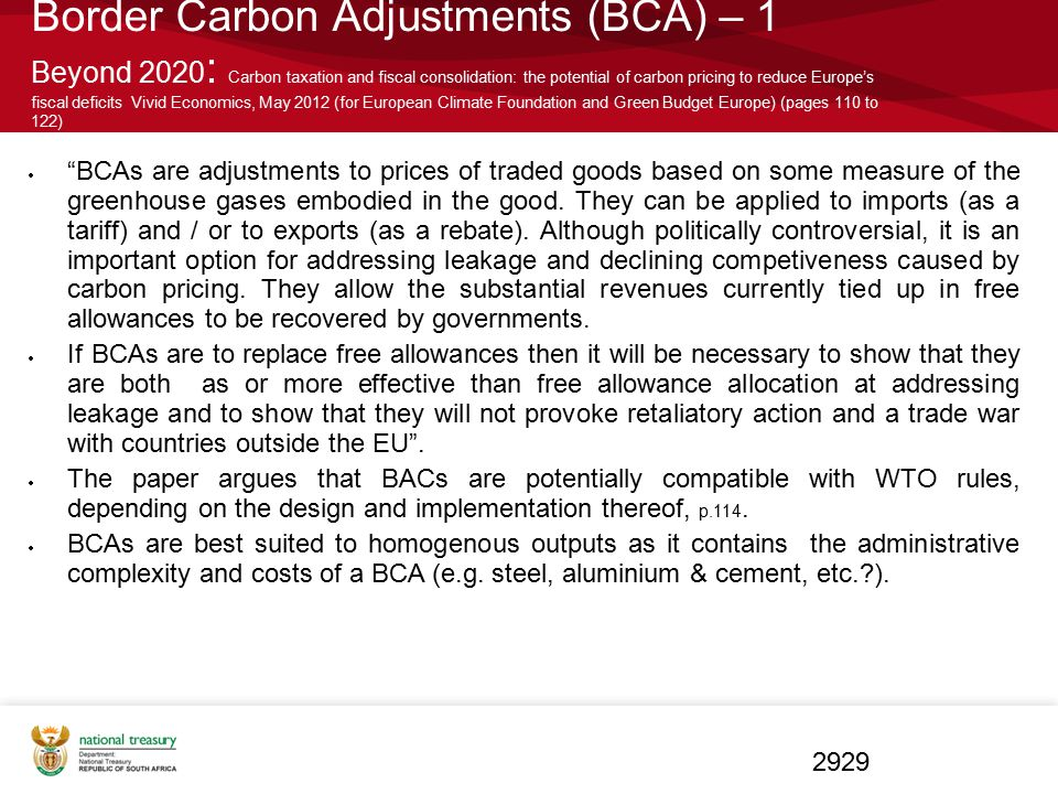 Border Carbon Adjustments (BCA) – 1 Beyond 2020 : Carbon taxation and fiscal consolidation: the potential of carbon pricing to reduce Europe's fiscal