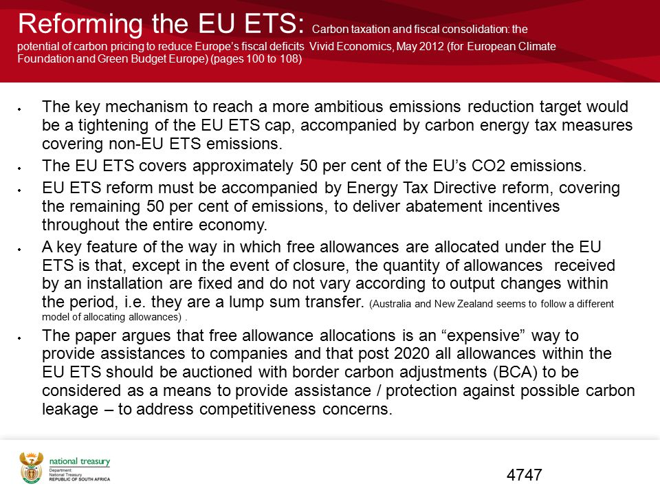 Reforming the EU ETS: Carbon taxation and fiscal consolidation: the potential of carbon pricing to reduce Europe's fiscal deficits Vivid Economics, Ma