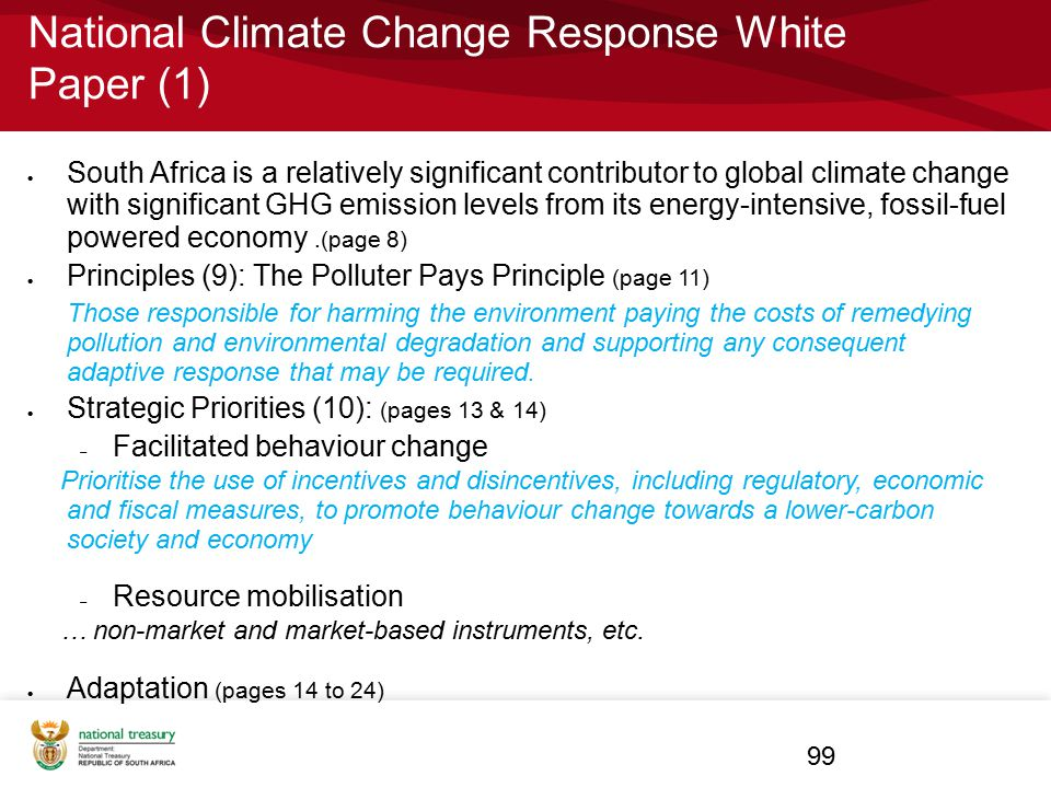 National Climate Change Response White Paper (1)  South Africa is a relatively significant contributor to global climate change with significant GHG