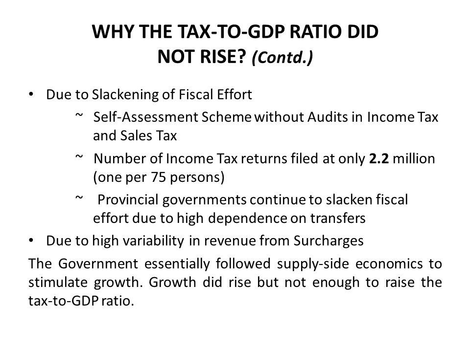 WHY THE TAX-TO-GDP RATIO DID NOT RISE.