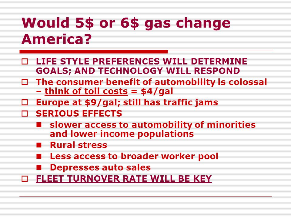 Would 5$ or 6$ gas change America.