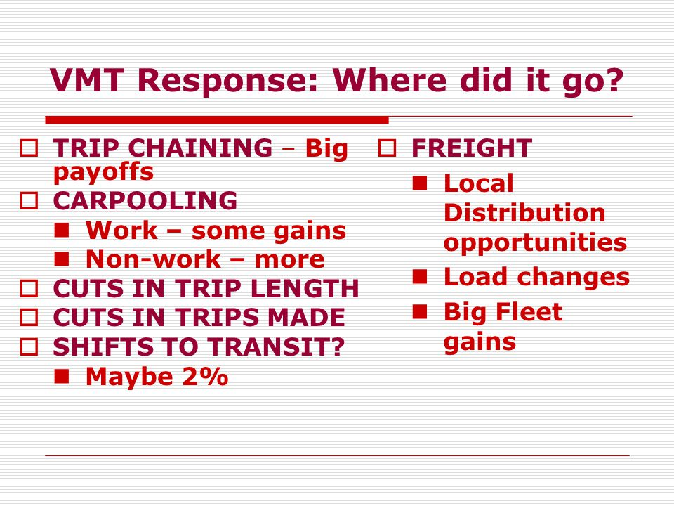 VMT Response: Where did it go.