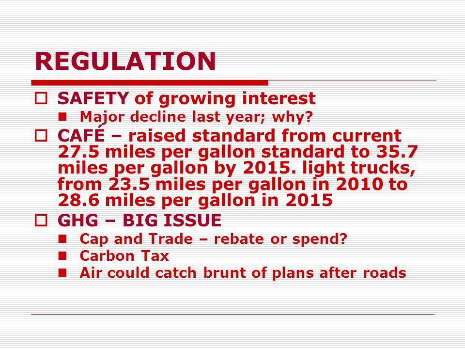 REGULATION  SAFETY of growing interest Major decline last year; why.