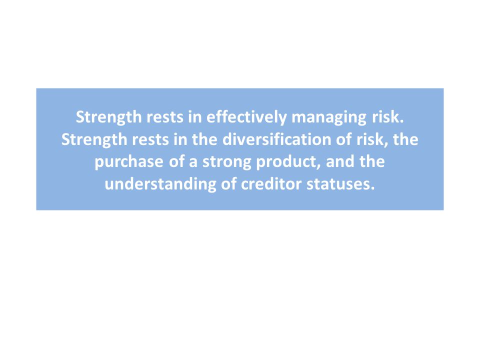 Strength rests in effectively managing risk.