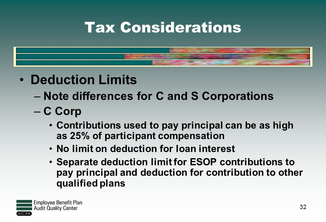 Tax Considerations Deduction Limits –Note differences for C and S Corporations –C Corp Contributions used to pay principal can be as high as 25% of pa
