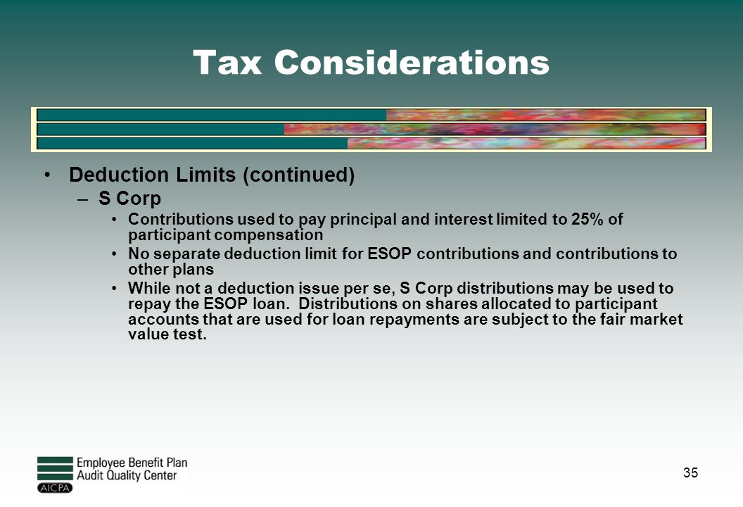 Tax Considerations Deduction Limits (continued) –S Corp Contributions used to pay principal and interest limited to 25% of participant compensation No