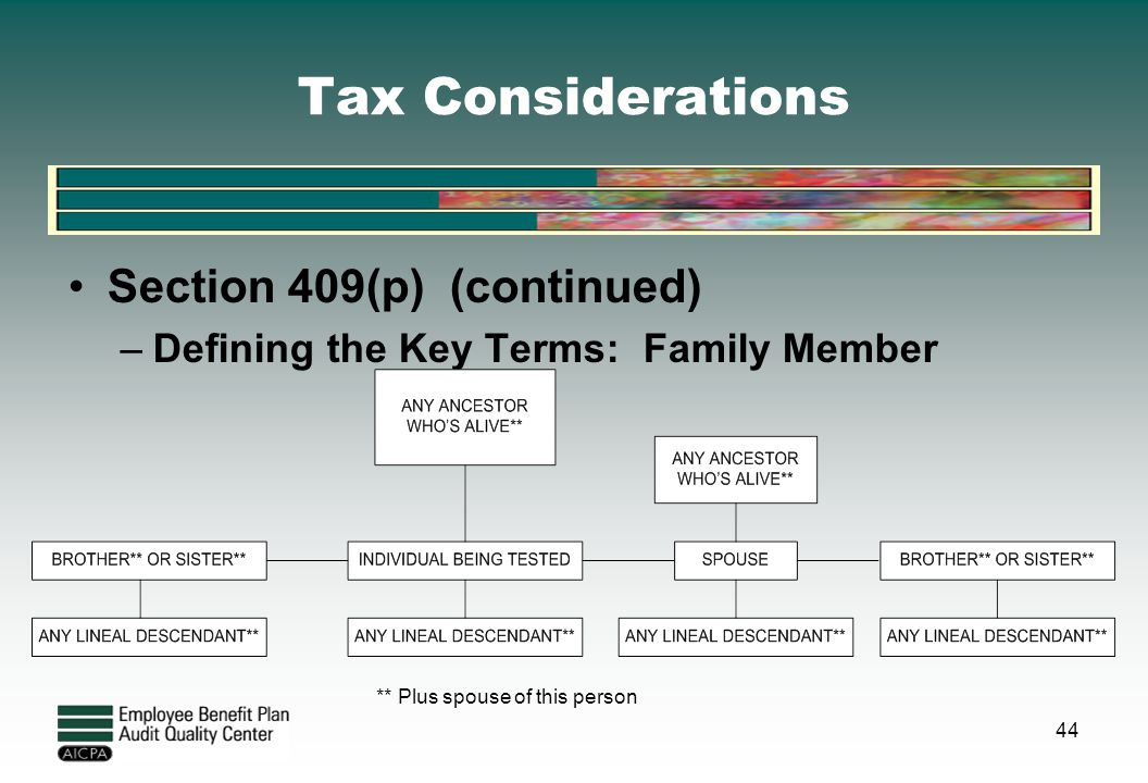 Tax Considerations Section 409(p) (continued) –Defining the Key Terms: Family Member ** Plus spouse of this person 44