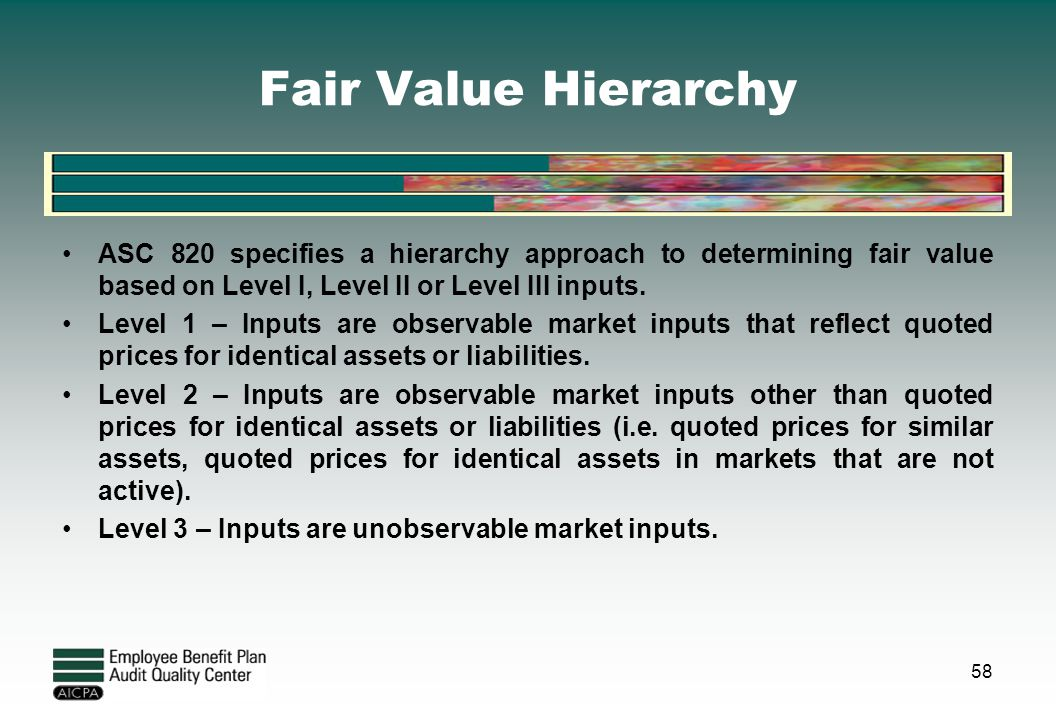 Fair Value Hierarchy ASC 820 specifies a hierarchy approach to determining fair value based on Level I, Level II or Level III inputs. Level 1 – Inputs