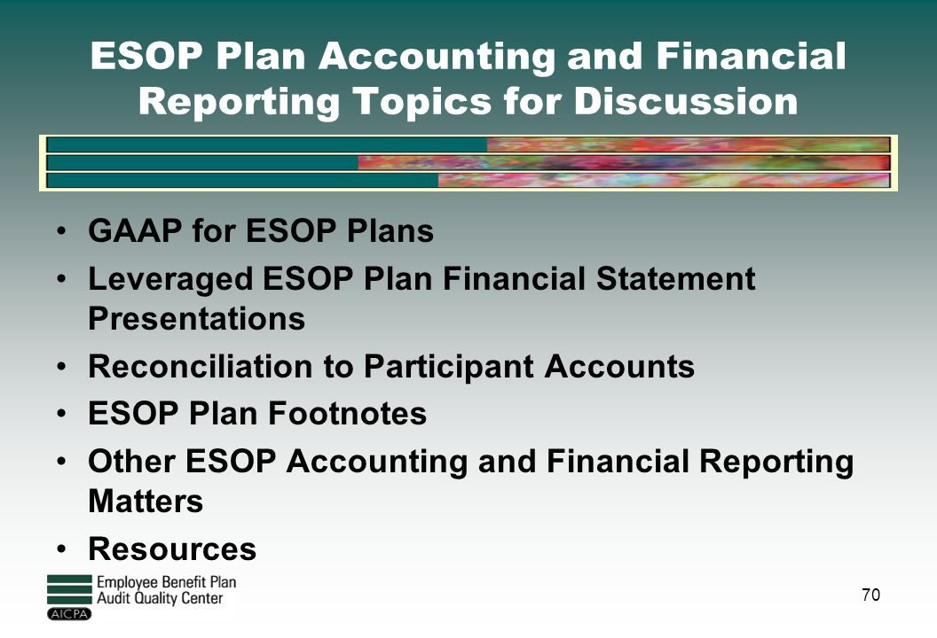 ESOP Plan Accounting and Financial Reporting Topics for Discussion GAAP for ESOP Plans Leveraged ESOP Plan Financial Statement Presentations Reconcili