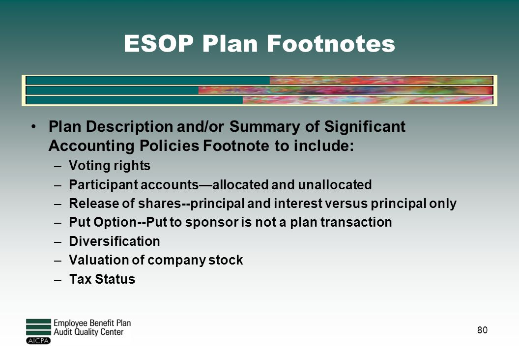 ESOP Plan Footnotes Plan Description and/or Summary of Significant Accounting Policies Footnote to include: –Voting rights –Participant accounts—alloc