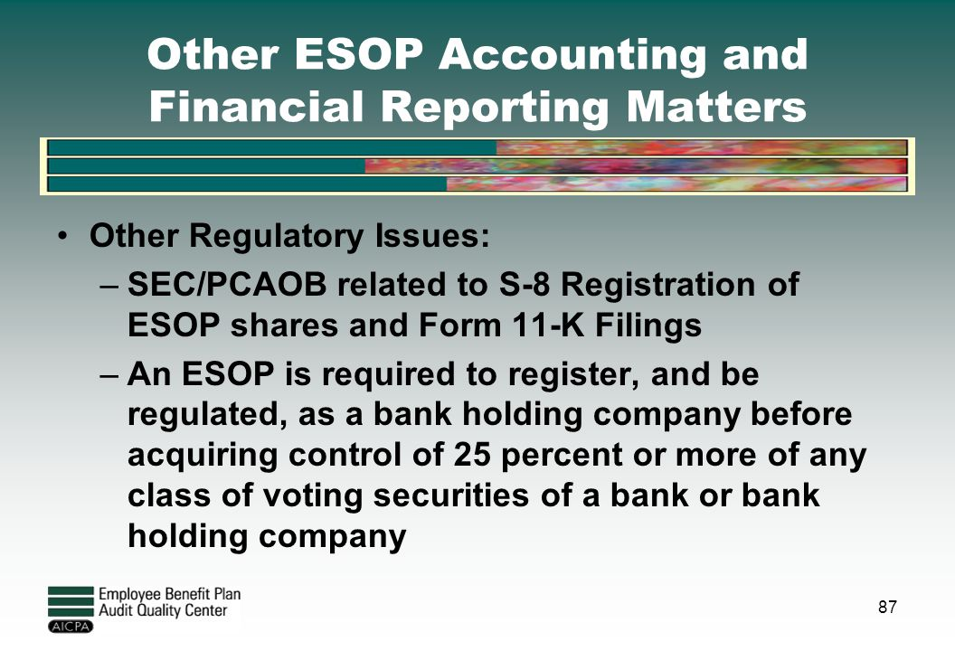 Other ESOP Accounting and Financial Reporting Matters Other Regulatory Issues: –SEC/PCAOB related to S-8 Registration of ESOP shares and Form 11-K Fil