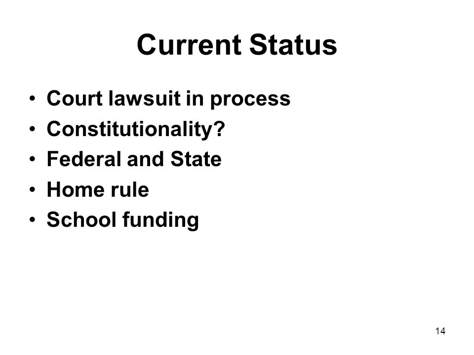 14 Current Status Court lawsuit in process Constitutionality.