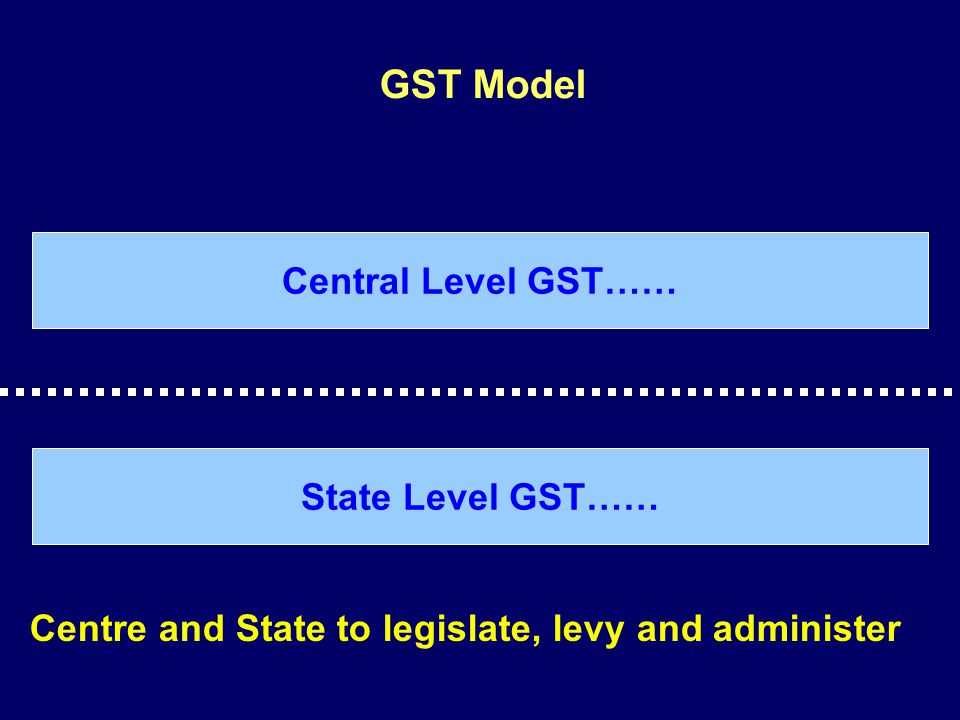 GST Model Central Level GST…… State Level GST…… Centre and State to legislate, levy and administer