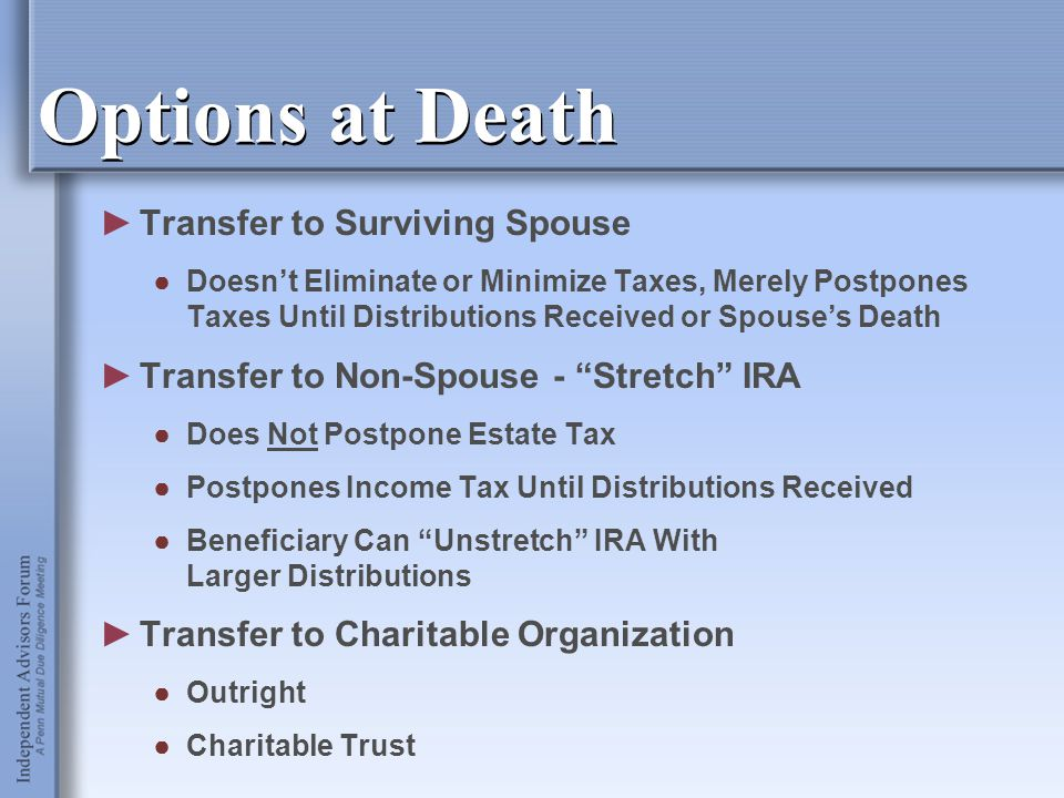 Options at Death ►Transfer to Surviving Spouse ●Doesn't Eliminate or Minimize Taxes, Merely Postpones Taxes Until Distributions Received or Spouse's D