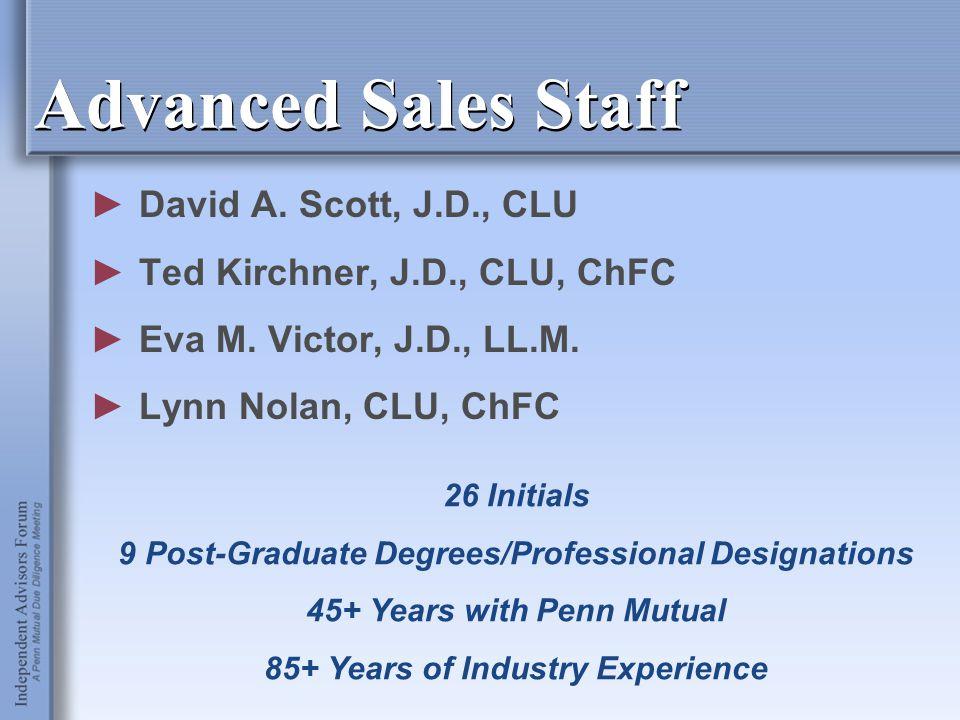 Advanced Sales Staff ►David A. Scott, J.D., CLU ►Ted Kirchner, J.D., CLU, ChFC ►Eva M. Victor, J.D., LL.M. ►Lynn Nolan, CLU, ChFC 26 Initials 9 Post-G