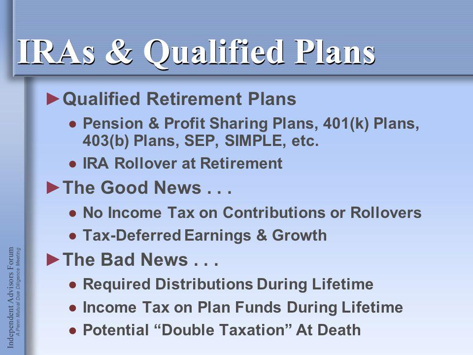 IRAs & Qualified Plans ►Qualified Retirement Plans ●Pension & Profit Sharing Plans, 401(k) Plans, 403(b) Plans, SEP, SIMPLE, etc. ●IRA Rollover at Ret
