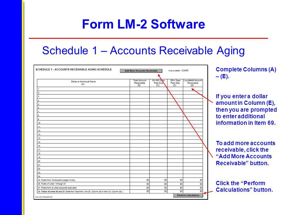 Form LM-2 Software Schedule 1 – Accounts Receivable Aging Complete Columns (A) – (E).