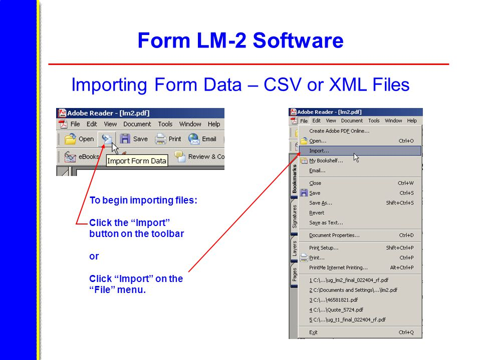 Form LM-2 Software Importing Form Data – CSV or XML Files To begin importing files: Click the Import button on the toolbar or Click Import on the File menu.