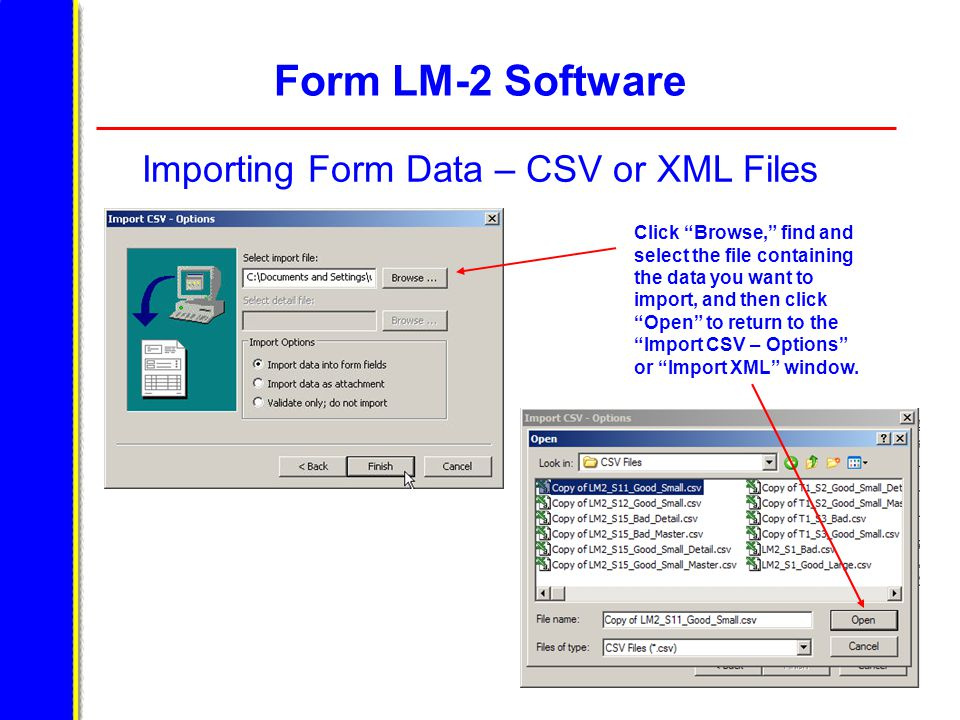 """Form LM-2 Software Importing Form Data – CSV or XML Files Click """"Browse,"""" find and select the file containing the data you want to import, and then cl"""