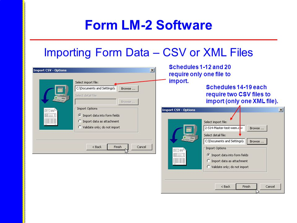 Form LM-2 Software Importing Form Data – CSV or XML Files Schedules 1-12 and 20 require only one file to import. Schedules 14-19 each require two CSV