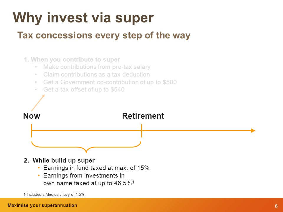 6 Maximise your superannuation and tax benefits Why invest via super Tax concessions every step of the way 1.