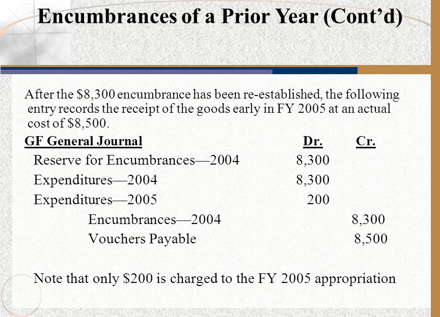 After the $8,300 encumbrance has been re-established, the following entry records the receipt of the goods early in FY 2005 at an actual cost of $8,50