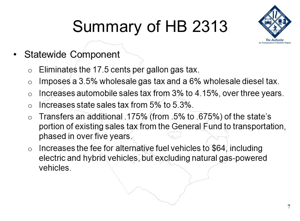 Summary of HB 2313 Statewide Component (Continued) o Dedicates potential federal revenues that would become available if Congress enacts the Marketplace Equity Act, which grants states legal authority to collect out-of-state sales taxes.