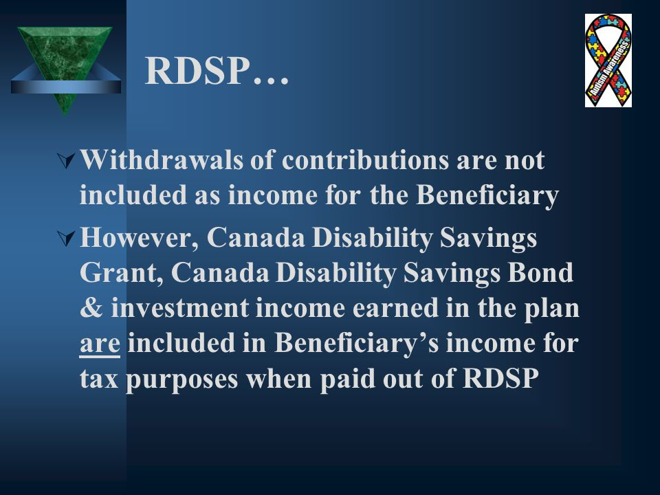 RDSP…  Withdrawals of contributions are not included as income for the Beneficiary  However, Canada Disability Savings Grant, Canada Disability Savings Bond & investment income earned in the plan are included in Beneficiary's income for tax purposes when paid out of RDSP