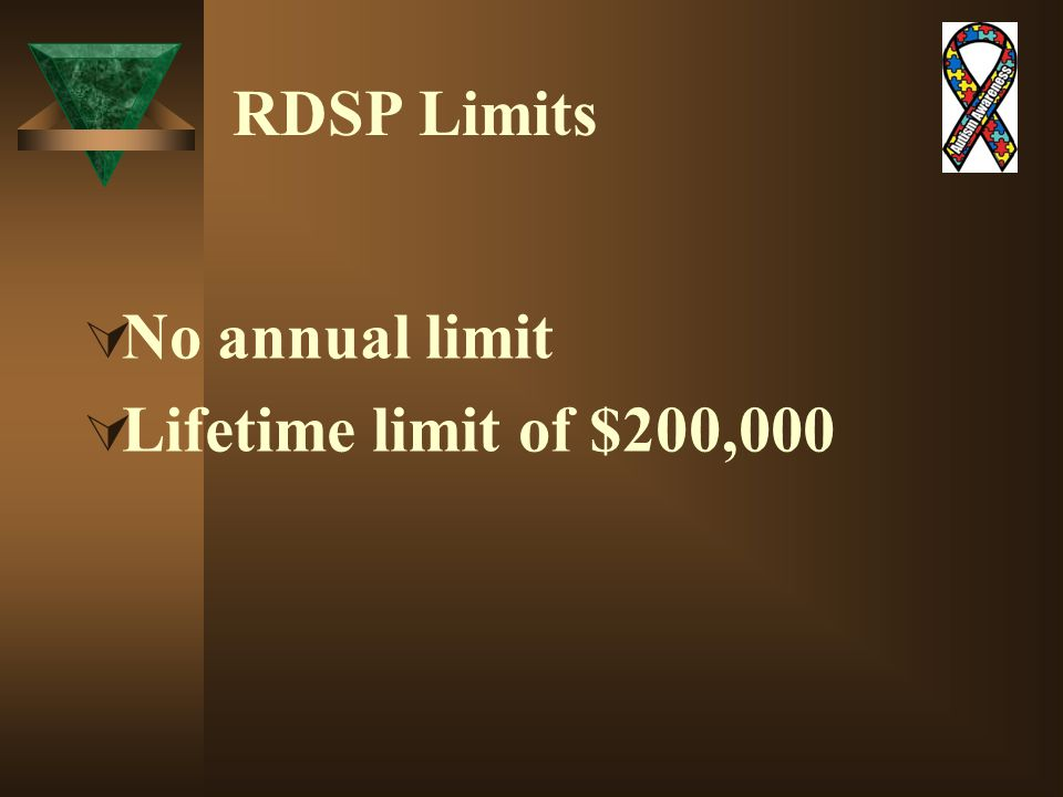 RDSP Limits  No annual limit  Lifetime limit of $200,000