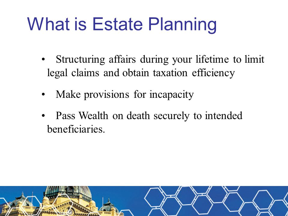 Estate Planning – doing it half right – Case Study You organised the following insurances for a young accountancy professional (married with a dependant spouse and 3 young children) – 1.