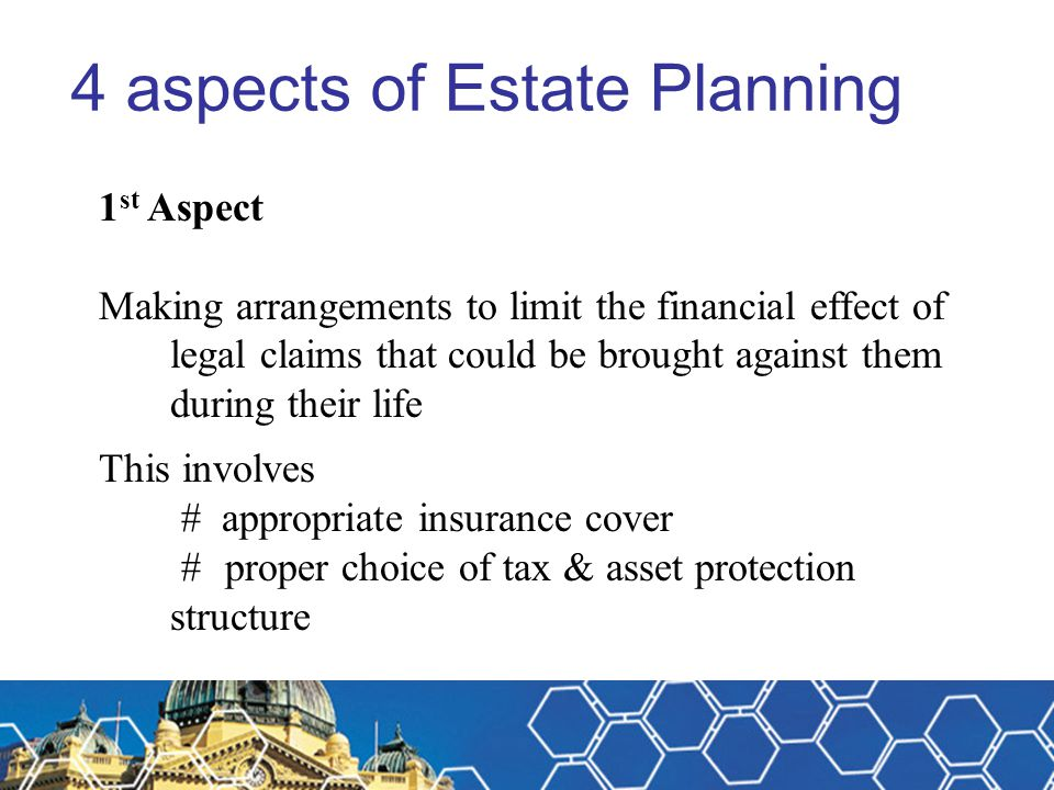 Estate Planning – Case Study Results comparison Scenario 2 Complete effective asset protection for spouse and children and their descendants Wife can quarantine inheritance from relationship claims Tax savings for up to 80 years from death S102AG tax concessions for kids – huge benefit Certainty for business partners
