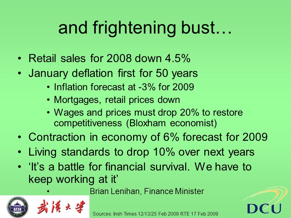 and frightening bust… Retail sales for 2008 down 4.5% January deflation first for 50 years Inflation forecast at -3% for 2009 Mortgages, retail prices down Wages and prices must drop 20% to restore competitiveness (Bloxham economist) Contraction in economy of 6% forecast for 2009 Living standards to drop 10% over next years 'It's a battle for financial survival.
