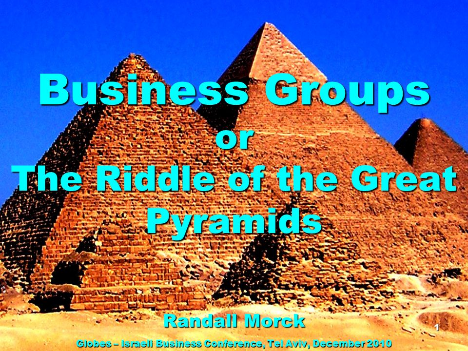 Business Groups Economics textbooks are about large US & UK firms, which are 1.Widely held – no controlling shareholder 2.Freestanding – listed firms neither control nor are controlled by other listed firms Many (most?) large firms in most other countries belong to business groups, which are 1.Pyramidal 2.Controlled by wealthy families or tycoons 2