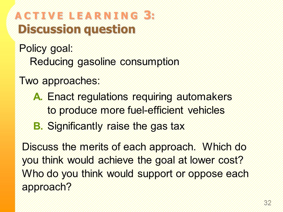 A C T I V E L E A R N I N G 3 : Discussion question Policy goal: Reducing gasoline consumption Two approaches: A. Enact regulations requiring automake