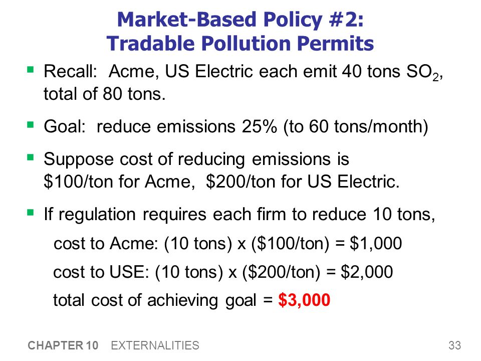 33 CHAPTER 10 EXTERNALITIES Market-Based Policy #2: Tradable Pollution Permits  Recall: Acme, US Electric each emit 40 tons SO 2, total of 80 tons. 