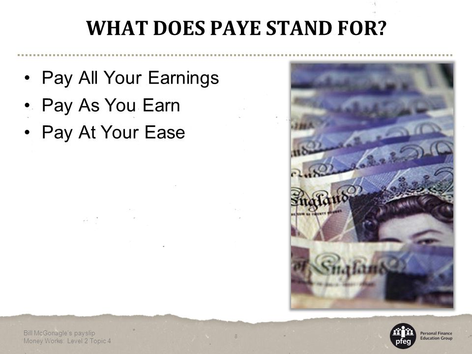 WHAT DOES PAYE STAND FOR.