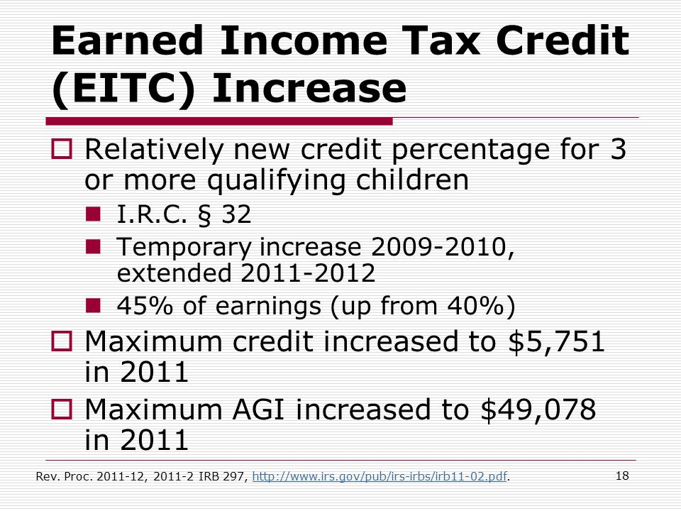 Earned Income Tax Credit (EITC) Increase  Relatively new credit percentage for 3 or more qualifying children I.R.C. § 32 Temporary increase 2009-2010