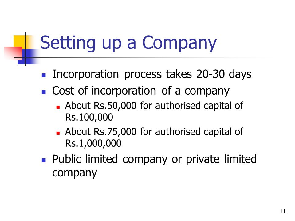 11 Setting up a Company Incorporation process takes 20-30 days Cost of incorporation of a company About Rs.50,000 for authorised capital of Rs.100,000 About Rs.75,000 for authorised capital of Rs.1,000,000 Public limited company or private limited company
