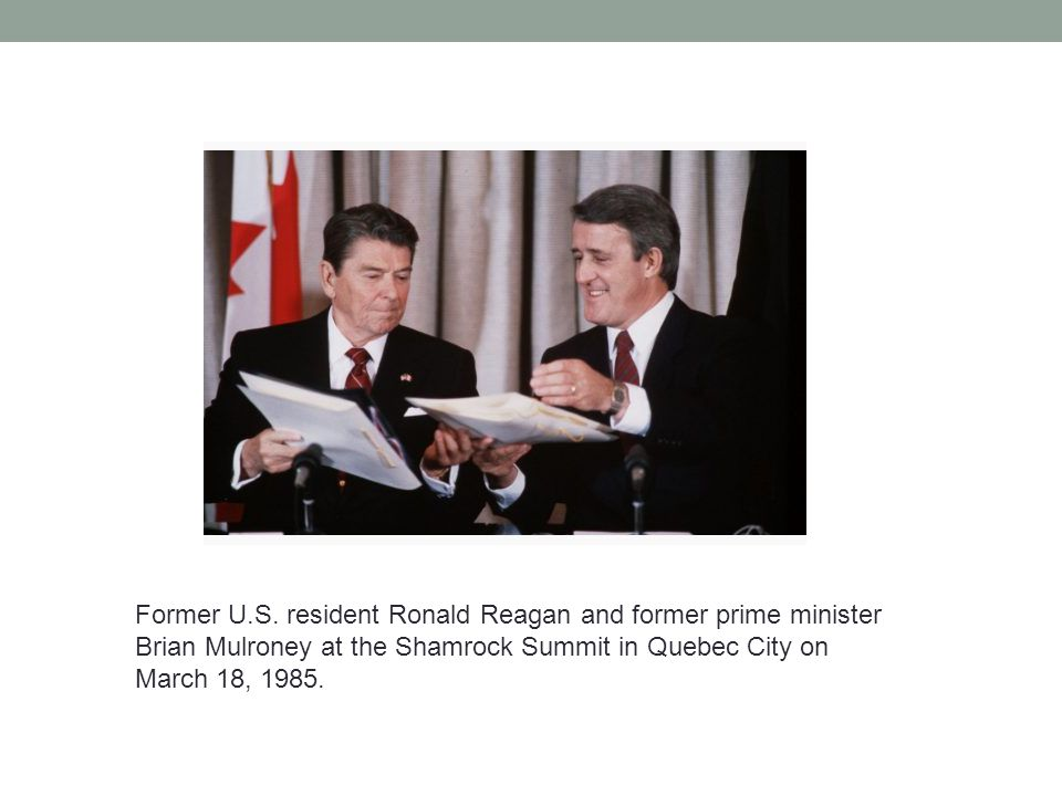 Former U.S. resident Ronald Reagan and former prime minister Brian Mulroney at the Shamrock Summit in Quebec City on March 18, 1985.