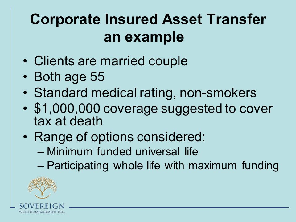 Corporate Insured Asset Transfer an example Clients are married couple Both age 55 Standard medical rating, non-smokers $1,000,000 coverage suggested to cover tax at death Range of options considered: –Minimum funded universal life –Participating whole life with maximum funding