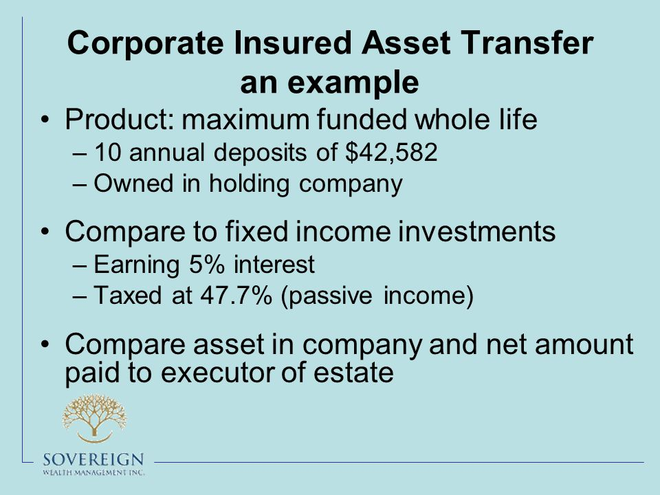 Corporate Insured Asset Transfer an example Product: maximum funded whole life –10 annual deposits of $42,582 –Owned in holding company Compare to fixed income investments –Earning 5% interest –Taxed at 47.7% (passive income) Compare asset in company and net amount paid to executor of estate