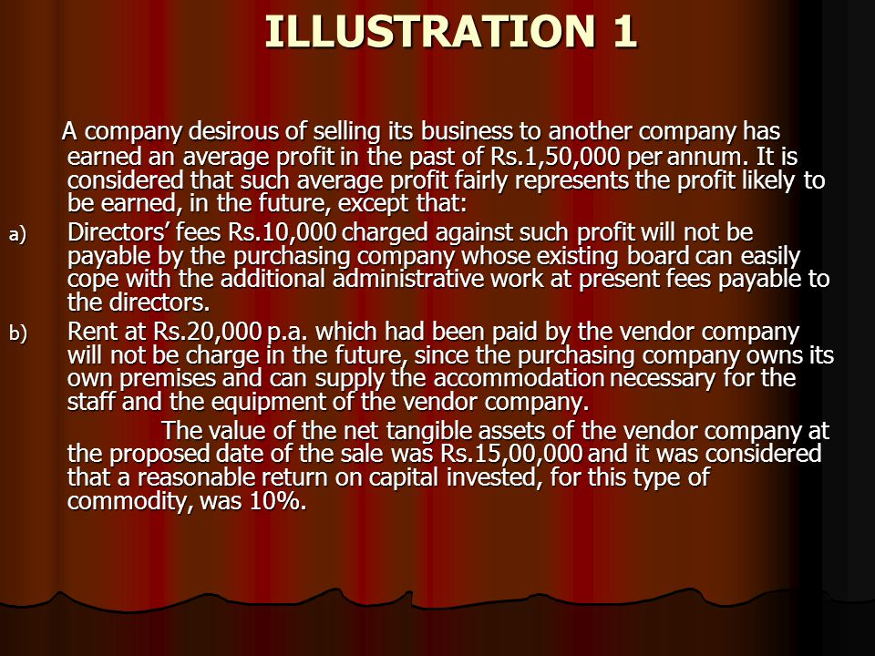 ILLUSTRATION 1 A company desirous of selling its business to another company has earned an average profit in the past of Rs.1,50,000 per annum. It is
