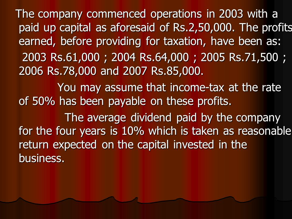 The company commenced operations in 2003 with a paid up capital as aforesaid of Rs.2,50,000. The profits earned, before providing for taxation, have b