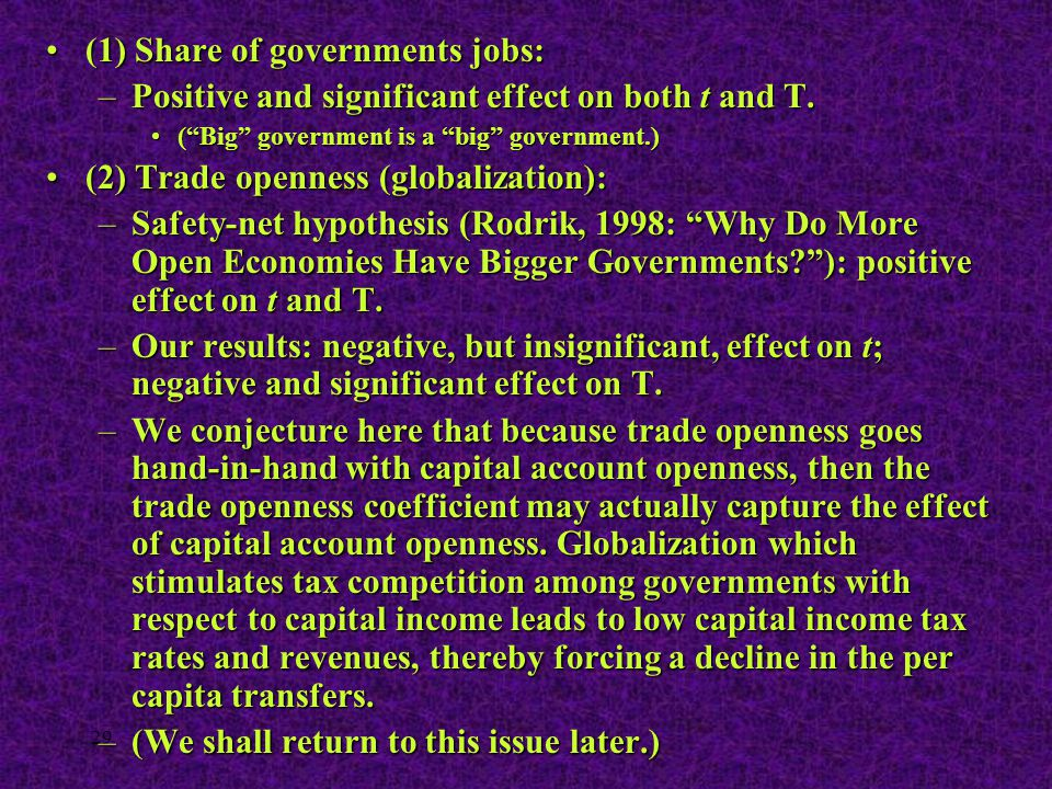"29 (1) Share of governments jobs:(1) Share of governments jobs: –Positive and significant effect on both t and T. (""Big"" government is a ""big"" governm"