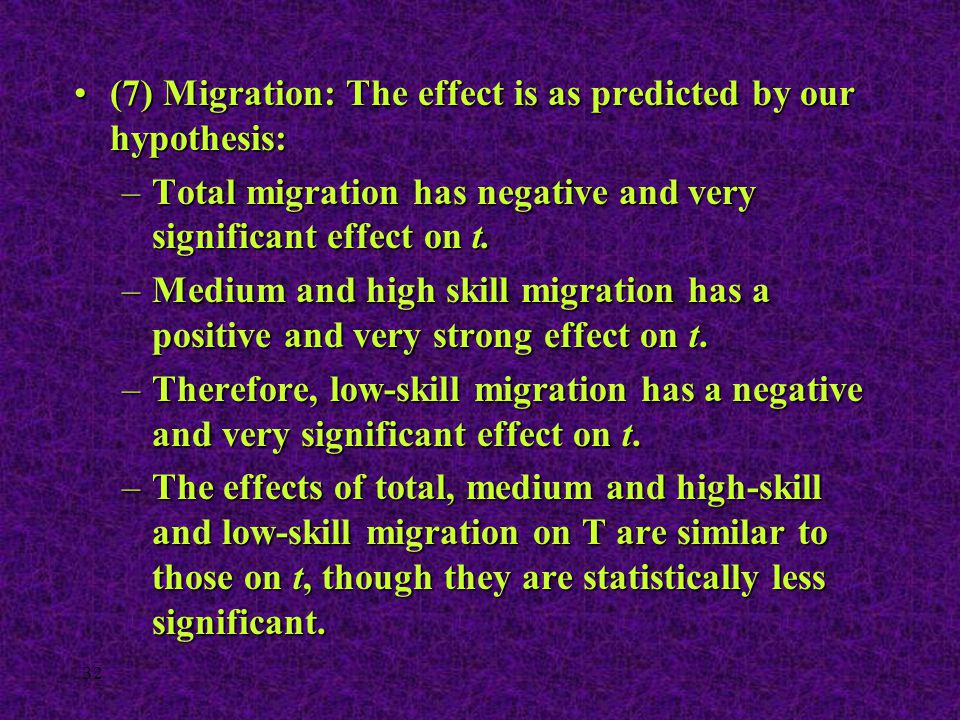 32 (7) Migration: The effect is as predicted by our hypothesis:(7) Migration: The effect is as predicted by our hypothesis: –Total migration has negat