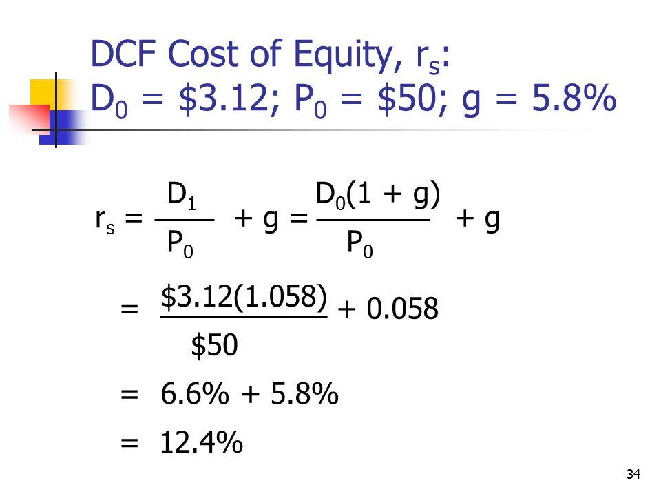 34 DCF Cost of Equity, r s : D 0 = $3.12; P 0 = $50; g = 5.8% r s = D1D1 P0P0 + g = D 0 (1 + g) P0P0 + g = $3.12(1.058) $50 + 0.058 =6.6% + 5.8% = 12.