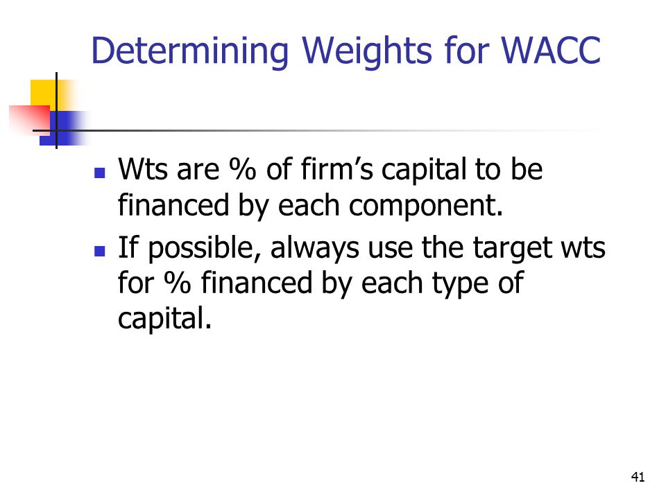41 Determining Weights for WACC Wts are % of firm's capital to be financed by each component.