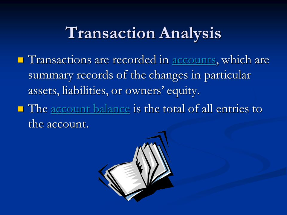 Transaction Analysis Transactions are recorded in accounts, which are summary records of the changes in particular assets, liabilities, or owners' equ