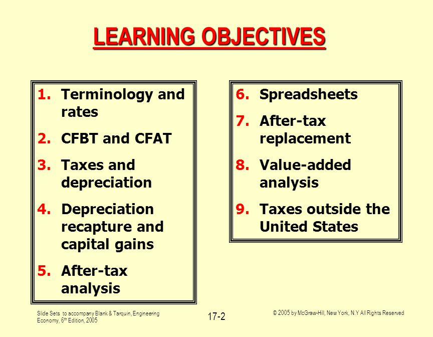 Slide Sets to accompany Blank & Tarquin, Engineering Economy, 6 th Edition, 2005 © 2005 by McGraw-Hill, New York, N.Y All Rights Reserved 17-2 LEARNIN