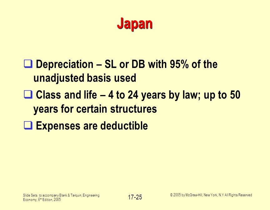 Slide Sets to accompany Blank & Tarquin, Engineering Economy, 6 th Edition, 2005 © 2005 by McGraw-Hill, New York, N.Y All Rights Reserved 17-25 Japan